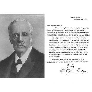 Aux origines drame palestinien, la déclaration Balfour